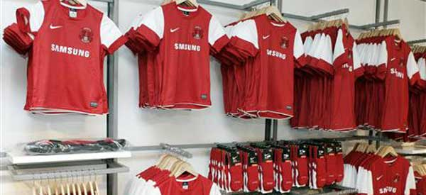 Leyton Orient club shop selling the home colours
