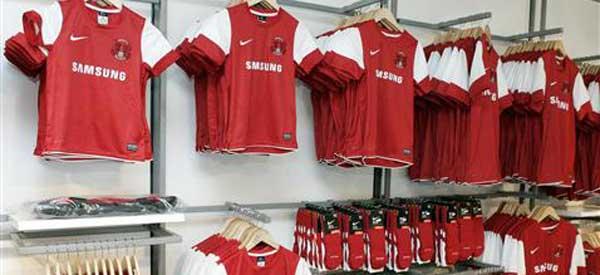 Home shirts inside Leyton Orient's club shop