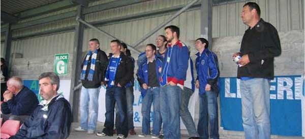 Limerick FC supporters inside the stadium