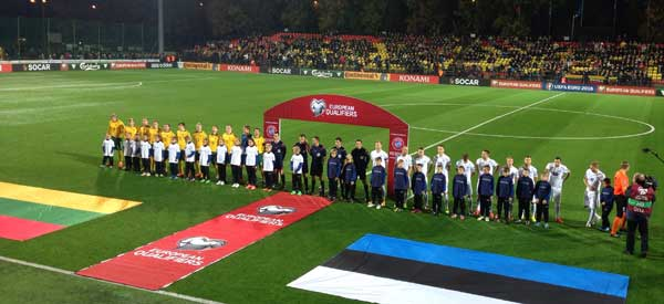 Lithuania and estonia players line up
