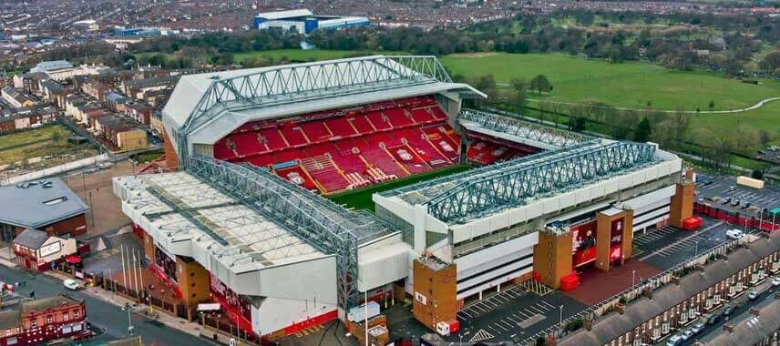 Aerial view of the famous anfield