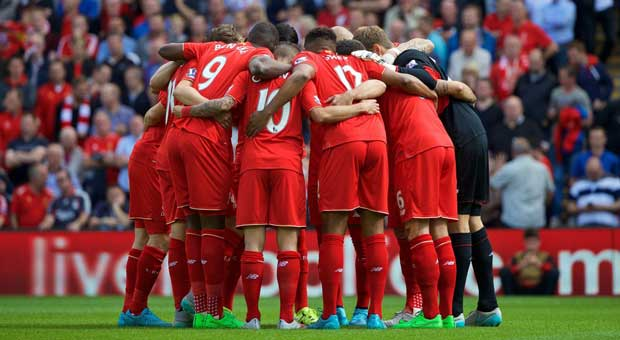 Liverpool team huddle
