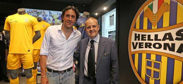 Luca Toni inside Hellas Verona Shop