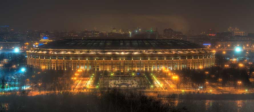 Exterior of Luzhniki Stadium at night