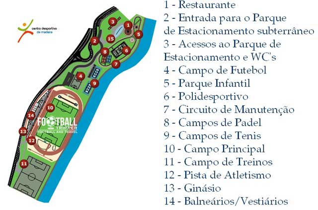 map of Maderia Sports centre complex