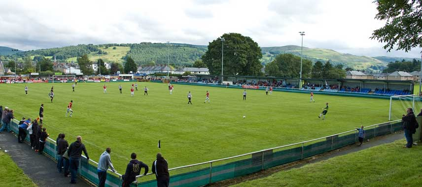 A view overlooking Maes Tegid Stadium