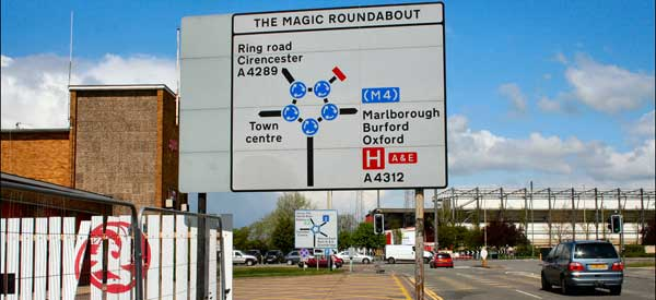 A sign for Swindon's infamous Magic Roundabout with County Ground in the distance
