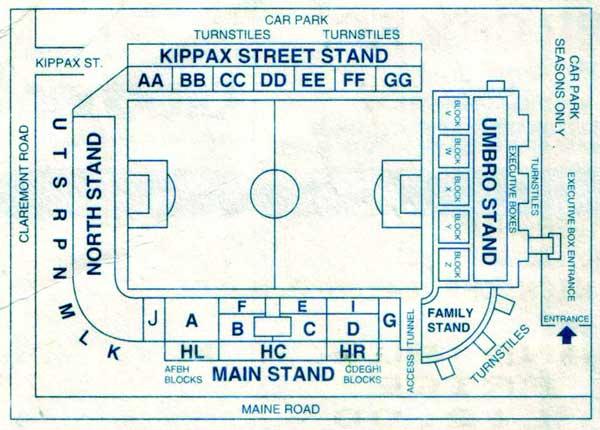 Seating plan of Man City's Old Stadium