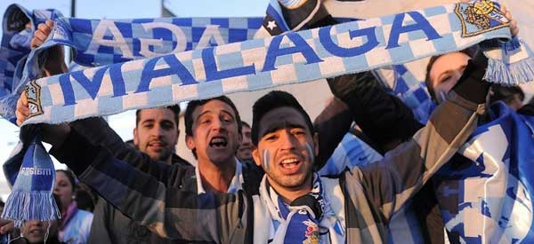 Malaga supporters inside the stadium
