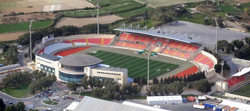 Aerial view of Malta's national stadium
