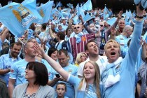 Man City supporters inside the stadium