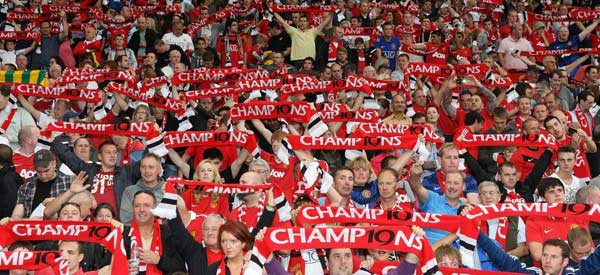 Man Utd supporters inside the stadium