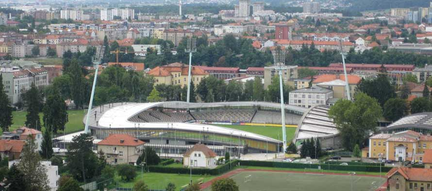 Aerial view of Maribor stadium