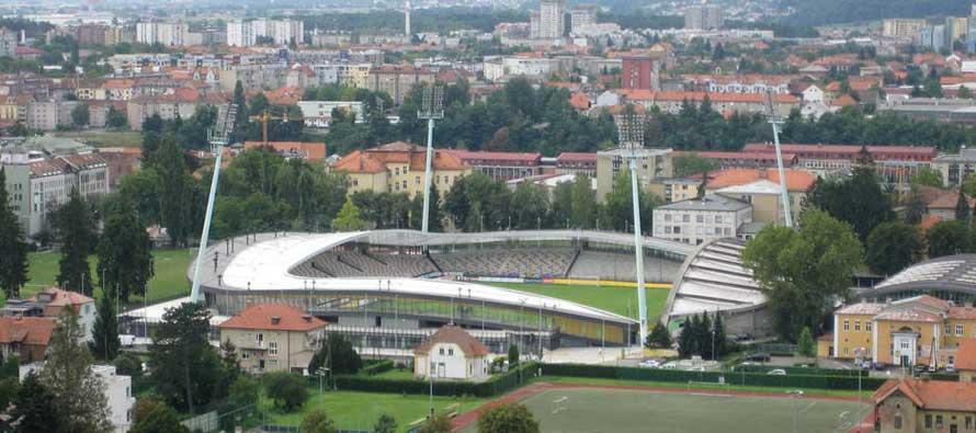 Aerial view of Maribor stadium