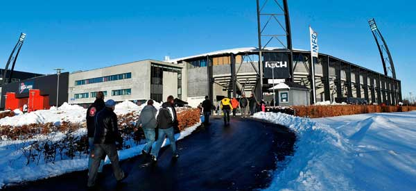 MCH Arena snowy matchday.