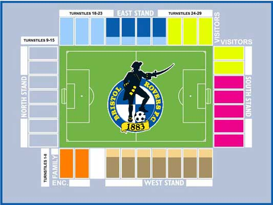 Bristol Rover's Memorial Stadium Seating Plan