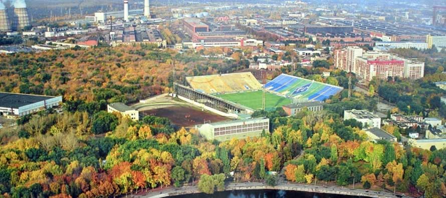 Aerial view of Metallurg Stadion