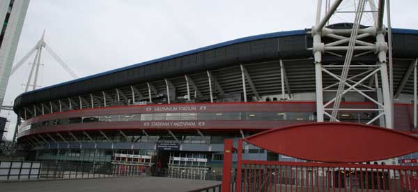 The exterior of Millennium Stadium as seen from the main entrance of the ground.