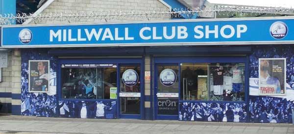 Exterior of Millwall's club shop