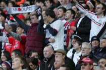 MK Dons fans inside the stadiums
