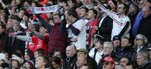 A bunch of typical MK Dons fans