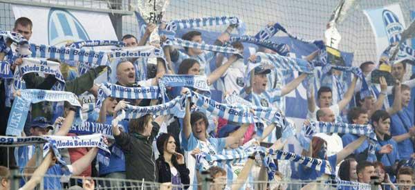 Mlada Boleslav supporters inside the stadium