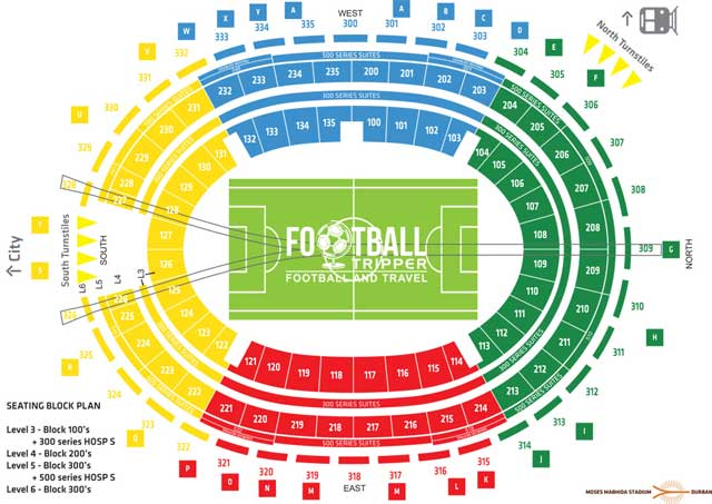 Seating Map Moses Mabhida Stadium