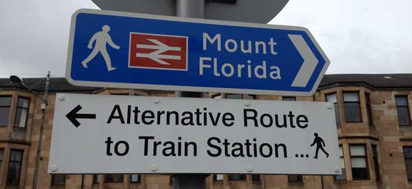 The sign for Mount Florida Railway Station which is the closest to Hampden Park.