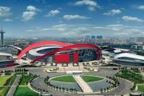 Exterior view of Nanjing Olympic Stadium