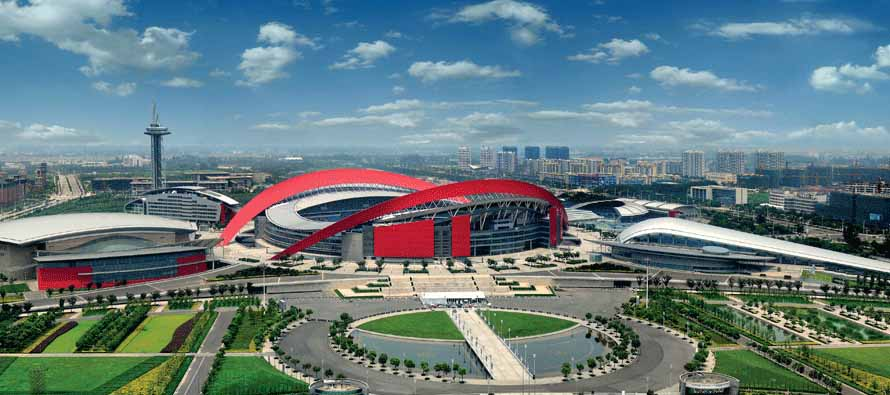 Exterior view of Nanjing Olympic Stadium