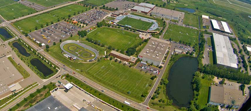 Aerial view of Minnesota's national sports centre