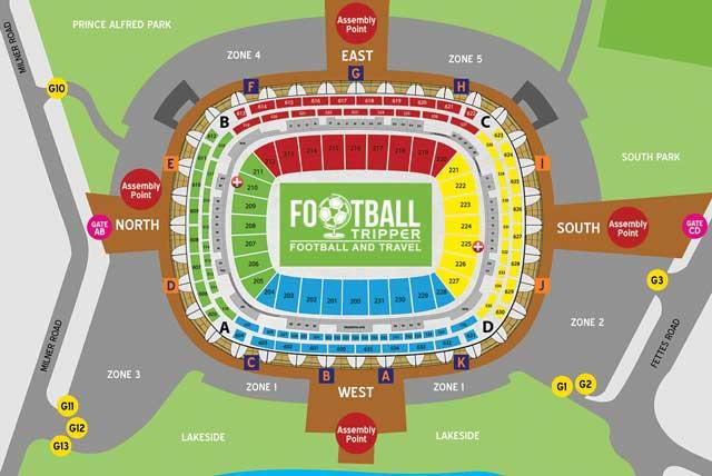 Seating chart for Nelson Mandela Stadium