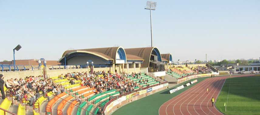 The main stand at Neman Stadion