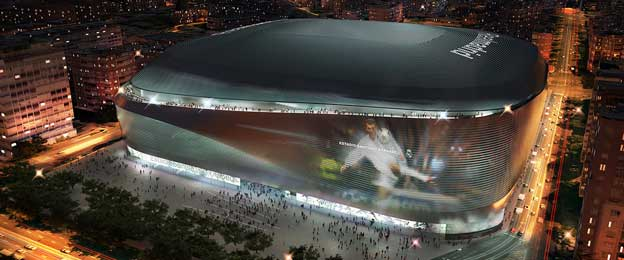 Night render of rennovated Santiago Bernabeu