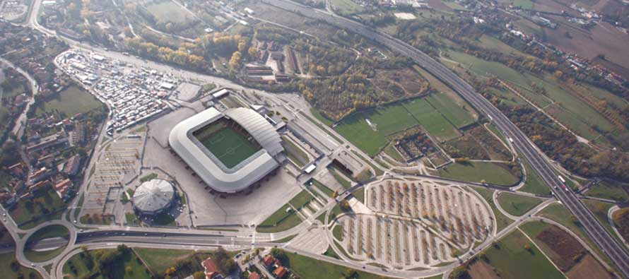 Rendered view of New Stadio Friuli