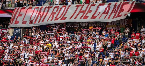 New York Red Bulls supporters inside the stadium