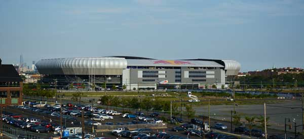 The Red Bull Arena as seen from across the road.