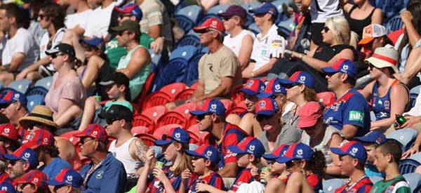 Newcastle Jets supporters inside the stadium