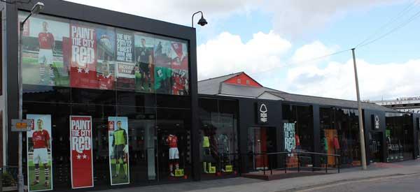 exterior of Nottingham Forest's club shop