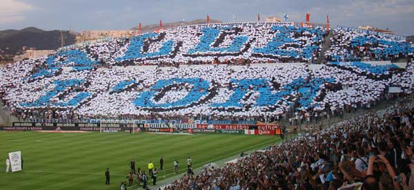 Olympique Marseille supporters inside the stadium