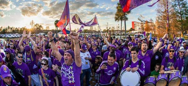 Orlando fans grouping together in good numbers before kick-off.