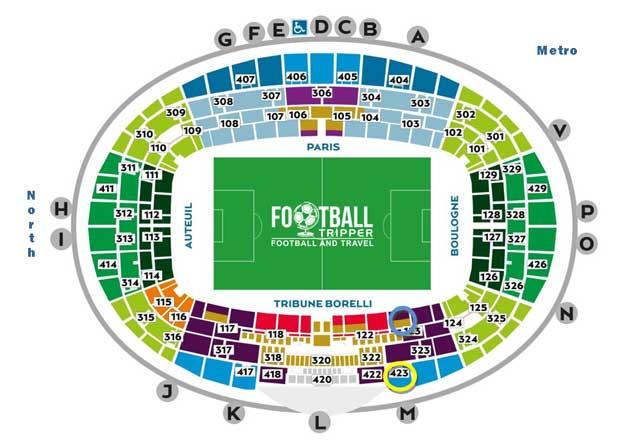 Parc des princes seating plan PSG
