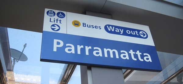 The welcome sign for Parramatta Railway Station as found on the main platform.