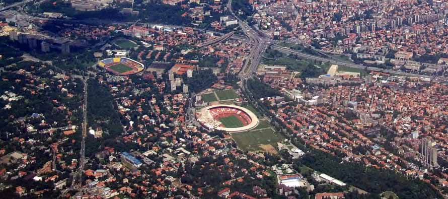 Aerial view of Partizan Stadium