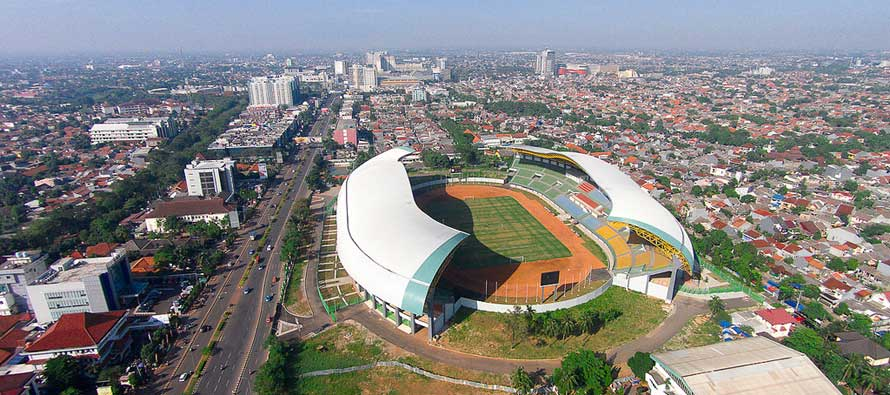 Aerial view of Indonesia's Patriot Stadium