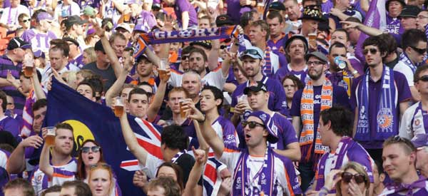 Perth Glory supporters inside the stadium