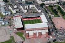 Aerial view of Pittodrie Stadium