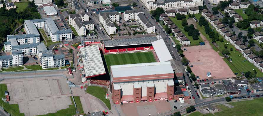 Aerial view of Pittodrie Stadium