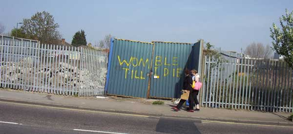 A famous piece of graffiti previously adorned a construction gate at the entrance of the old stadium.