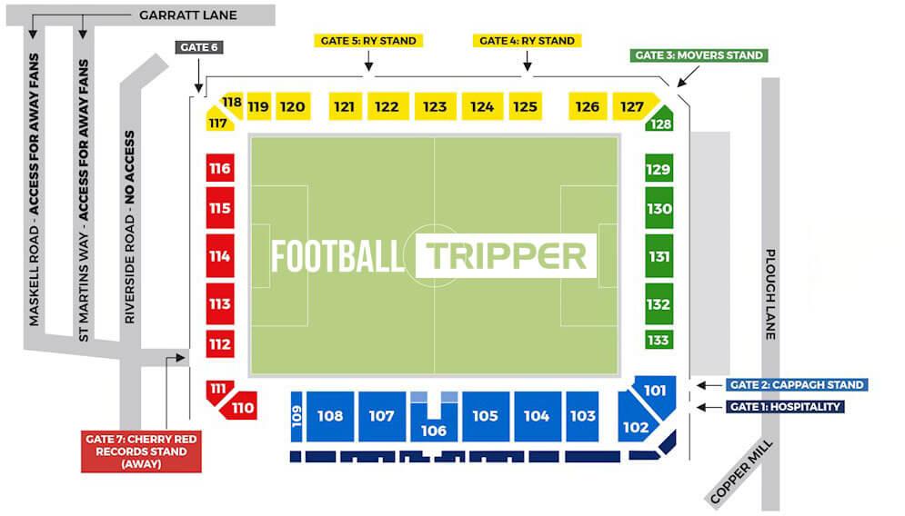 Seating plan for AFC Wimbledon's Plough Lane Stadium